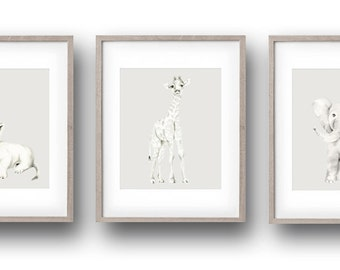 Safari Animal Nursery Art, Set of 3 Prints, Grey Nursery Decor, Baby Boy Nursery, Lion, Elephant, Giraffe, Childrens Art, Pencil Drawing