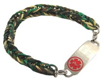 Camo Silicone Rubber Medical Alert Bracelet Free Engraved Medical ID Tag