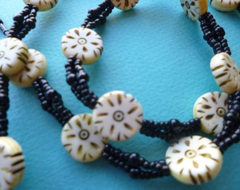 Vintage Tribal Beaded Necklace With Carved Bone Beads 1970s