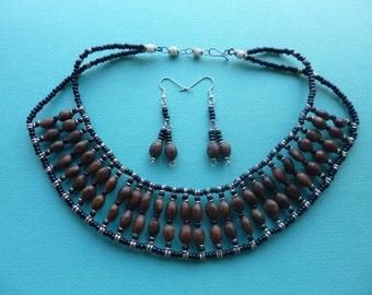 Hippie Beaded Choker and Dangle Pierced Earrings Tribal Necklace and Earring Set Made in the 1970s