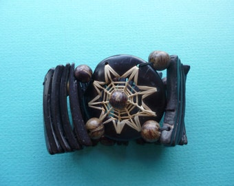 Hippie Bangle Bracelet Tribal Wood Stretch Bracelet With Beads  1980's