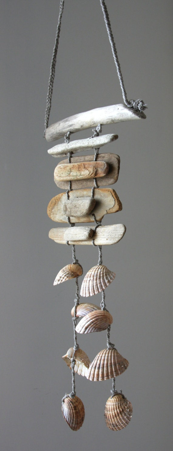 Driftwood sea shell mobile beach wind chime sea shell chime