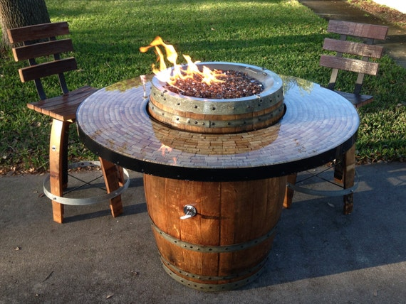 Wine Barrel Gas Fire Pit And Patio Table By Awineofakind