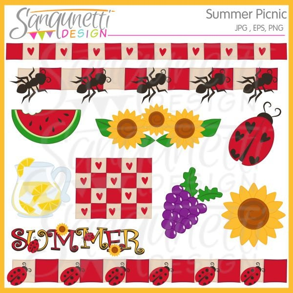 Summer Picnic Clipart Sunflower Ladybug by SanqunettiDesigns