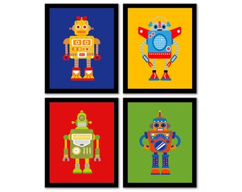 Robot Art, Robot Nursery, Robot Decor, Nursery Wall Art, Printable Nursery Art, Set of 4 Prints, Primary Colors, Boys Room, INSTANT DOWNLOAD