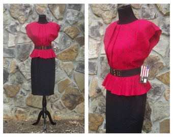 80s Deadstock Peplum Dress Red and Black Abstract 80s does 40s Print Belted Dress NWT Sz M (7/8)