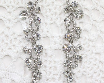 Wedding Bridal Earrings Dangle Chandelier Clear Rhinestone