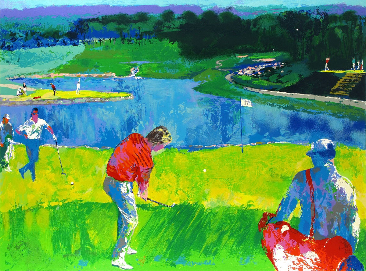 leroy neiman lake and golf oil painting by antsartworkoffice. Black Bedroom Furniture Sets. Home Design Ideas