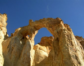 Photography, Arches, Utah, Gold Orange Arch, Blue Sky, Fine Art Print, Landscape Photography, 5x7, 8x10, 11x14, Home Decor, Wall Art