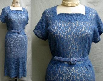 Vintage 40s 50s Romantic LACE New LOOK DRESS w. Matching Belt Retro Wedding