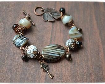 """Bracelet """"Agata""""  Handmade  bracelet with Natural Stone, Agate, Beaded bracelet, striped bracelet"""