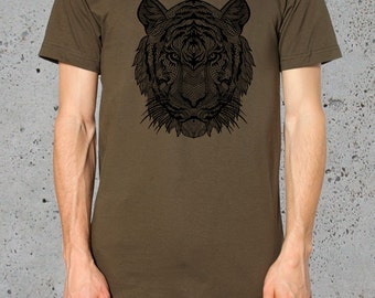 Mens Tiger T shirt American Apparel-Animal Print S M L  XL ( Multiple Colors Available),instagram likes,instagram