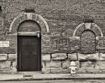 Seattle Photography, Architecture, Urban, Doorway, Brick,  Black and White Photography, Wall Art, Home Decor, Georgetown