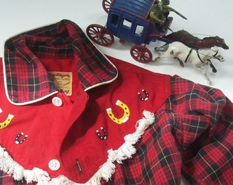 Vintage Cowboy Shirt from Rob Roy / Roy Rogers Frontier Shirt / Red Plaid / Horse shoes and fringe