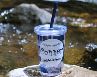 Personalized kids cup with straw.  Childrens tumbler with logo. Preppy stripe cup with lid and straw.