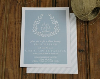 Cher petit bebe shower invitation-FREE SHIPPING or DIY printable