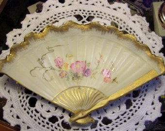 Vintage Handpainted Porcelain Fan Pin Tray or Wall Decor