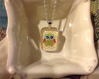 Owl Chevron Glass Pendant Necklace