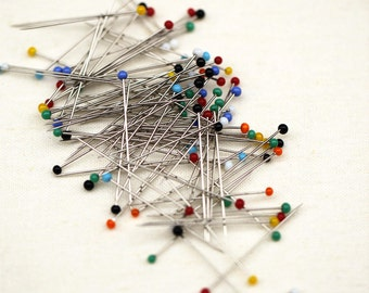 50-100pcs in Set Sewing Pins Needles Supplies-Polka Dot Ring Pin Needle