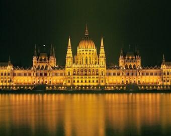 Budapest Parliament Building, original fine art photography, print, urban landscape, 8x12, hungary, light, night, yellow, danube, city, dark