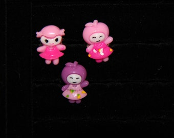 Little dolls Ring for kids, Cabochon Ring, Pink Ring, Kawaii Ring, Adjustable Ring, Resin Ring