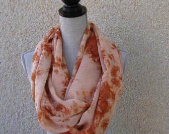 Fabric scarf, Infinity scarf, tube scarf, eternity scarf, loop scarf, long scarf in a peach/orange/rust print