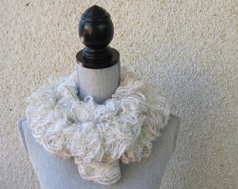knit scarf, ruffled scarf, long scarf in winter white, silvery taupe and sequins