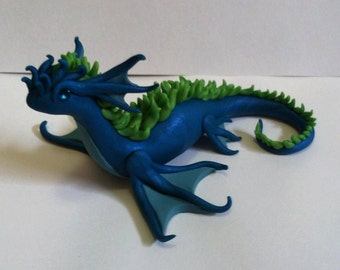 OOAK Blue and Green Polymer Clay Sea Dragon