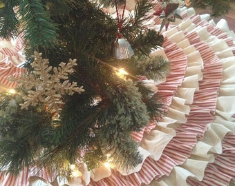 Muslin and Ticking Ruffled Tree Skirt - Sewn and Serged - 48 inch - Large