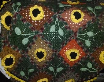 Colorful One-of-A-Kind 3D Sunflower Crocodile Stitch Afghan