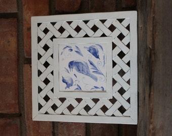 Beautiful Marjolein Bastin Ceramic Decorative Tile in Metal Lattice Work Frame Trivet by Hallmark - Blue and White Birds