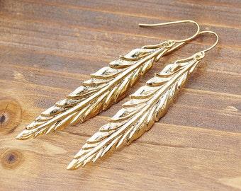Simple Earwir, Skinny Long Feather Pendant, Earrings