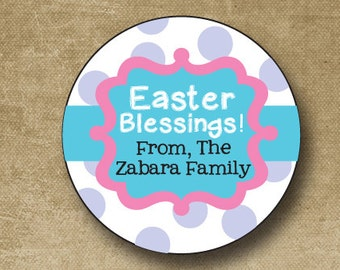 Easter Stickers, Personalized Easter Stickers, Easter Favor Tags, Bunny Stickers for Easter, Easter Basket Stickers, Custom Easter
