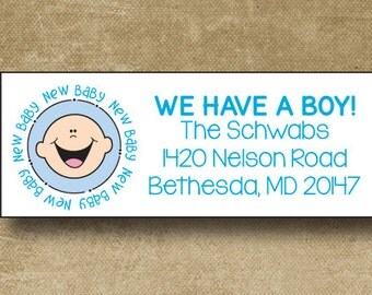 Baby Announcement Address Labels, Personalized Address Labels, New Baby Address Labels, Custom Baby Boy address, Return Labels Baby Boy