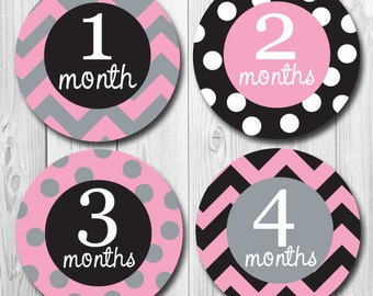 Baby Month Stickers,  Monthly Milestone Stickers, bodysuit Stickers, First Year Stickers, Monthly Stickers Baby Gift, Pink, Black