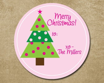 Personalized Christmas Stickers, Christmas Tree Gift Stickers, Preppy Holiday Stickers, Christmas Gift Labels, Gift Stickers for Christmas