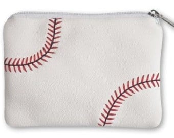 Baseball Coin Purse - made from real baseball leather with real red stitching