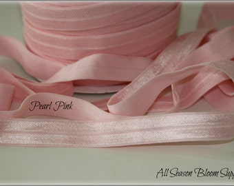 "NEW!  5/8"" Pearl Pink Foldover Elastic, Fold Over Elastic,  FOE,  Foldover Elastic, Shiny Elastic, Elastic by the yard, Headband, DIY"