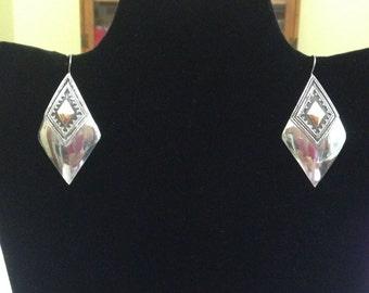 Sterling Silver Diamond Shaped Dangle Earrings