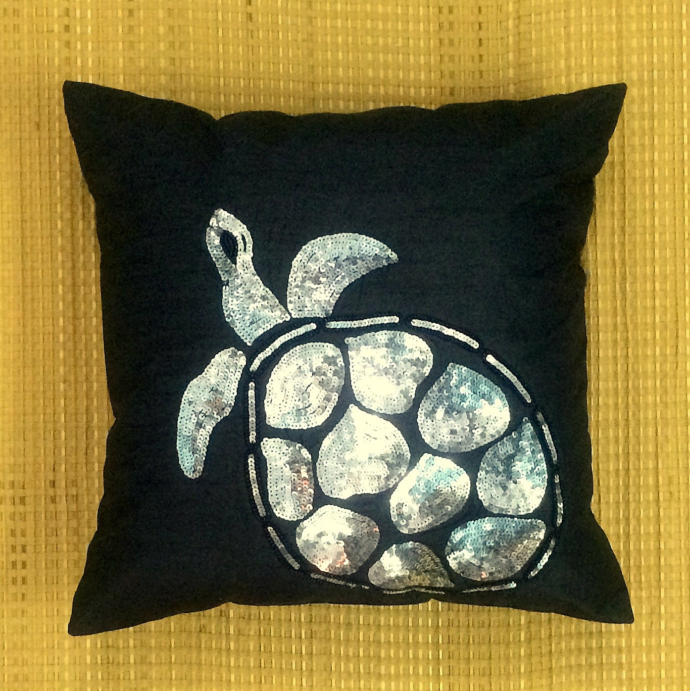 Decorative Pillows With Beads : Decorative Throw Pillow Cushion Cover Beads Sequin Turtle