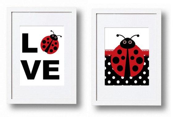 Items Similar To Ladybug Nursery Decor Wall Art Love