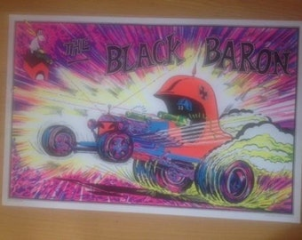 The Black Baron Blacklight Poster AA Sales Seattle 1970's