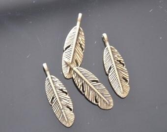 20pcs Antique Bronze Feather Charm Pendants --9*30mm--G0026