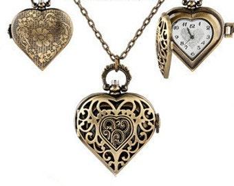 Flower Pocket Watch--1pc  Filigree heart-shaped  Pocket Watch Necklace Locket Pendants