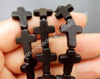 Black Cross Turquoise beads,12x16mm,Loose Strand, Gemstone beads, Howlite Beads 15.5 inch