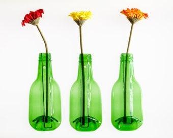 Recycled Glass Hanging Vase,  Bottle Vase Single Flower Vase Eco Gift, Free Postage to UK