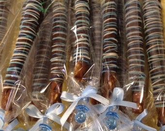 Blue Baby Shower Favors Blue Party Favors Chocolate Pretzels Party Favors First Birthday Favors Blue Baby Shower Favors Baptism Party Favors