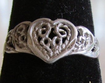 Filigree Sterling Silver Heart Ring Size 8
