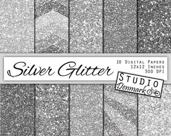 Silver Glitter Digital Paper - Sparkle Chunky Glitter Chevron - Platinum Metallic Shine - 10 Papers - 12in x 12in - Instant Download