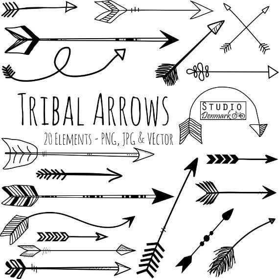 Tribal Arrow Clipart And Vectors Hand Drawn Clip Art
